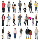 Жест людей разнообразия установленный стоя совместно изолированная студия стоковая фотография rf
