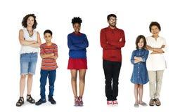 Жест людей разнообразия установленный стоя совместно изолированная студия Стоковые Изображения RF