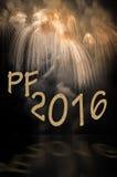 Желания на 2016 с фейерверками Стоковая Фотография RF