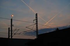 Железная дорога в вечере Стоковое Фото