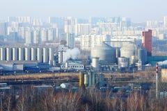 Железная дорога и индустриальная область в районе Tsaritsyno Стоковое фото RF