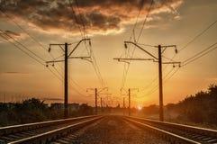 Железная дорога и солнечный свет мистика Стоковая Фотография RF