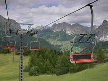 Железная дорога кабеля в доломитах, Corvara, Италия Стоковая Фотография