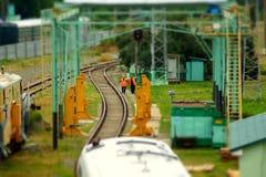 Железная дорога миниатюры Стоковые Изображения