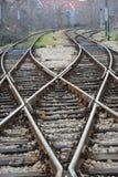 Железная дорога на станции Стоковая Фотография