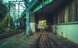 Железная дорога перспективы в токио стоковое фото rf
