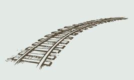 Железная дорога предпосылка рисуя флористический вектор травы иллюстрация вектора