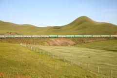 Железная дорога Транс-сибиряка от фарфора Пекина к ulaanbaatar Монголии Стоковые Фото