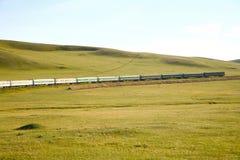 Железная дорога Транс-сибиряка от фарфора Пекина к ulaanbaatar Монголии Стоковая Фотография