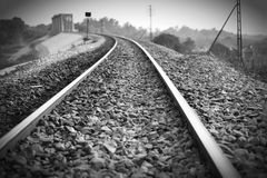 Железная дорога черно-белая Стоковые Фотографии RF