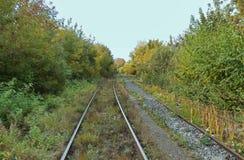 2 железной дороги отступая к горизонту Перспектива железнодорожных путей Стоковые Фото