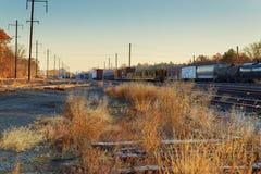 Железнодорожная сцена с поездом груза Стоковая Фотография