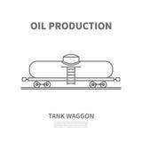 Железнодорожная фура танка в линейном стиле также вектор иллюстрации притяжки corel Стоковая Фотография RF