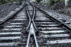 2 железнодорожного пути в один Стоковая Фотография RF