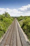 2 железнодорожного пути осмотренного сверху Стоковые Фотографии RF