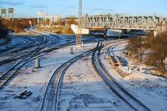 Железнодорожное infrastructur, завод скрининга поезда стоковые фото