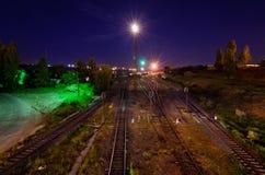 Железнодорожные пути на ноче Стоковая Фотография RF
