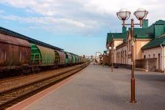 Железнодорожный вокзал с стоящими товарными вагонами Стоковые Фото
