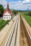 Железнодорожный вокзал Karpaty, горы Carpathan, западная Украина Стоковые Изображения
