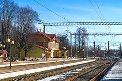 Железнодорожный вокзал Svetlogorsk-1. Город Svetlogorsk (до 1946 - Rauschen), Россия Стоковая Фотография RF