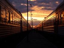 Железнодорожный заход солнца Стоковая Фотография RF