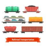 Железнодорожный комплект транспорта иллюстрация штока