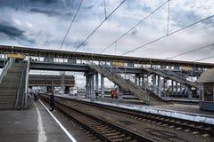 Железнодорожный мост на железнодорожном вокзале в Челябинске Стоковое Изображение