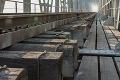 Железнодорожный мост до река Yenisei Сибирь Стоковые Изображения RF