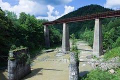 Железнодорожный мост через реку, которое тинно после проливного дождя стоковые фото