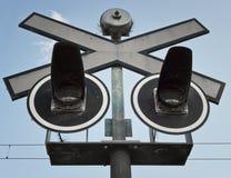Железнодорожный переезд сигнала Стоковое Изображение RF