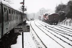 Железнодорожный подпишите внутри снежок Стоковые Изображения RF