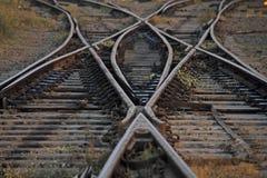 Железнодорожный путь сливая, комплект пунктов на железнодорожном следе поезда Стоковая Фотография RF