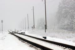 Железнодорожный сезон зимы Стоковое Изображение RF