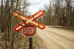 Железнодорожный стоп знака Стоковое Изображение