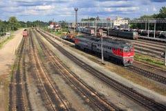 Железнодорожный узел Gatchina-Tovarnaya-прибалтийского в России Стоковые Изображения RF