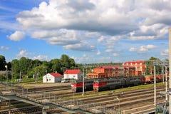 Железнодорожный узел Gatchina-Tovarnaya-прибалтийского в России Стоковые Фотографии RF