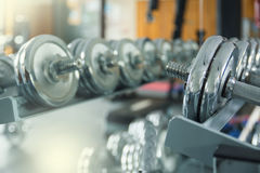 Железные гантели в спортзале Стоковое Изображение RF
