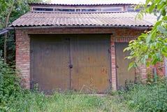 Железные стробы на кирпичной стене перерастанной с зеленой вегетацией Стоковая Фотография