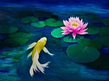 Желтая бабочка Koi и розовая лилия воды Стоковое Изображение