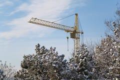 Желтая башня крана в лесе зимы Стоковое Изображение RF