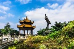 Желтая башня крана в Ухань Стоковая Фотография