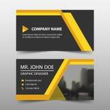 Желтая визитная карточка корпоративного бизнеса, шаблон карточки имени, горизонтальный простой чистый шаблон дизайна плана, бесплатная иллюстрация