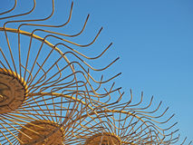 Желтая деталь граблей сена Стоковая Фотография