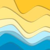 Желтая и голубая линия предпосылка волны кривой Стоковое фото RF