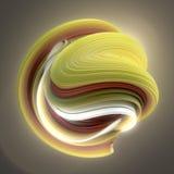 Желтая и красная переплетенная форма 3D произведенные компьютером абстрактные геометрические представляют иллюстрацию Стоковые Фотографии RF