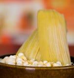 Желтая мозоль внутри бака глиняного кувшина с несколько humitas Стоковые Фото
