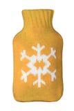 Желтая оранжевая горячая грелка подогревателя с знаком символа снежинки Стоковые Фотографии RF