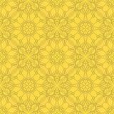 Желтая орнаментальная безшовная линия картина Стоковое Изображение