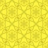 Желтая орнаментальная безшовная линия картина Стоковые Изображения RF