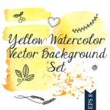 Желтая предпосылка вектора акварели Стоковые Изображения